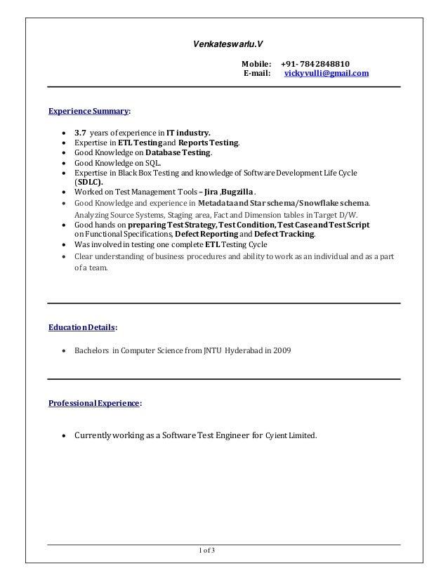 qa tester sample resume test engineer sample resume