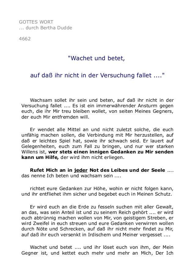 """GOTTES WORT ... durch Bertha Dudde 4662 """"Wachet und betet, auf daß ihr nicht in der Versuchung fallet ...."""" Wachsam sollet..."""