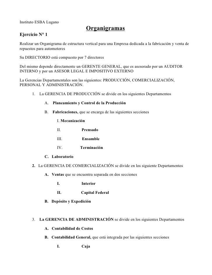 Instituto ESBA Lugano                                         Organigramas Ejercicio N° 1 Realizar un Organigrama de estru...