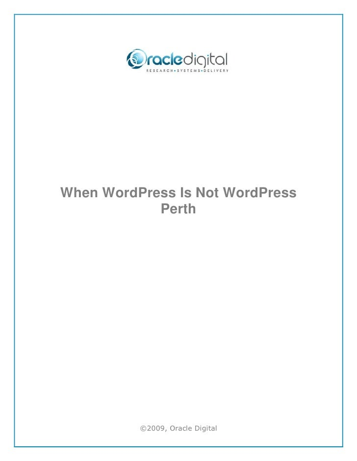 When WordPress is Not WordPress Perth