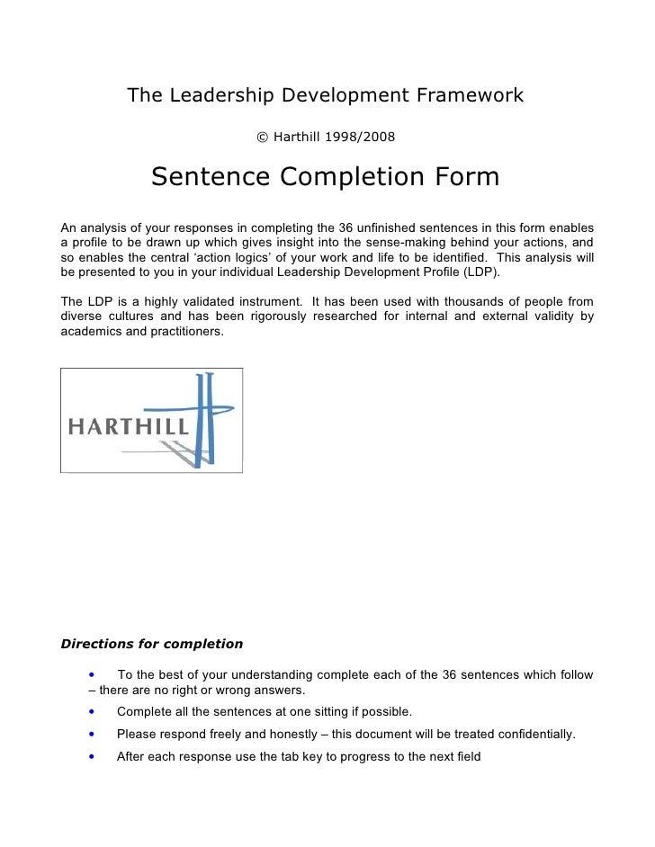 The Leadership Development Framework                                     © Harthill 1998/2008                   Sentence C...