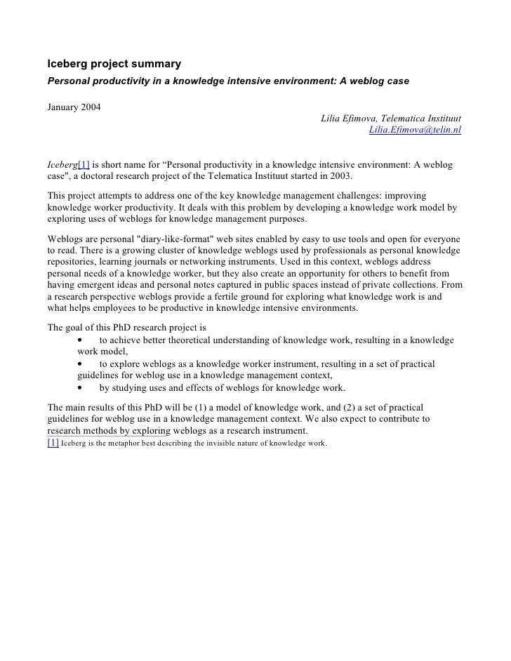 Iceberg project summary Personal productivity in a knowledge intensive environment: A weblog case  January 2004           ...