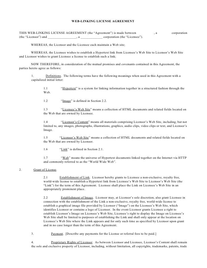 """WEB-LINKING LICENSE AGREEMENT   THIS WEB-LINKING LICENSE AGREEMENT (the """"Agreement"""") is made between                      ..."""