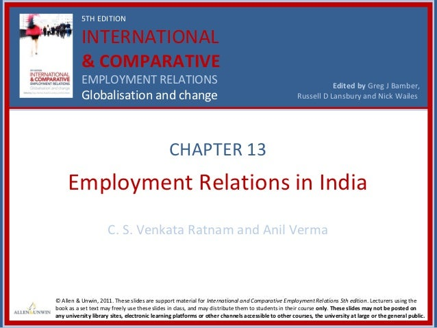 5TH EDITION          INTERNATIONAL          & COMPARATIVE          EMPLOYMENT RELATIONS                                   ...