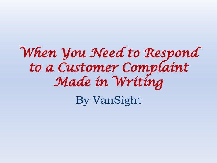 Essay about customer complaints