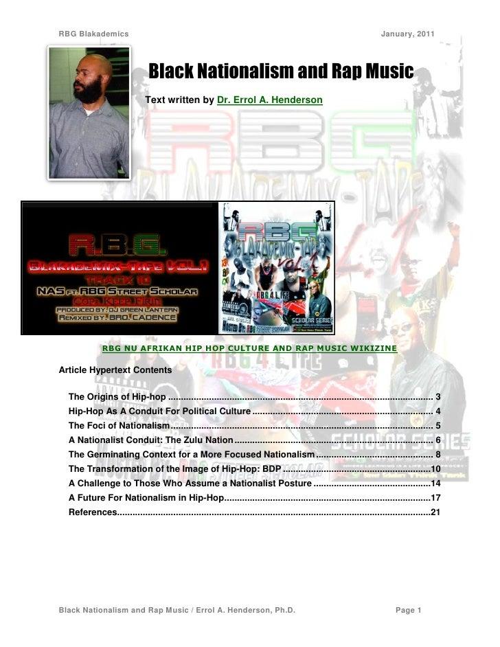 Black Nationalism and Rap Music Dr. Errol A. Henderson