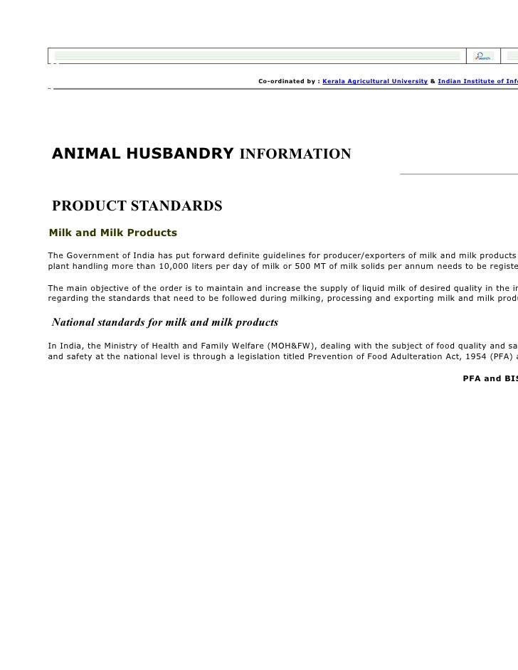 Co-ordinated by : Kerala Agricultural University & Indian Institute of Info     ANIMAL HUSBANDRY INFORMATION   PRODUCT STA...