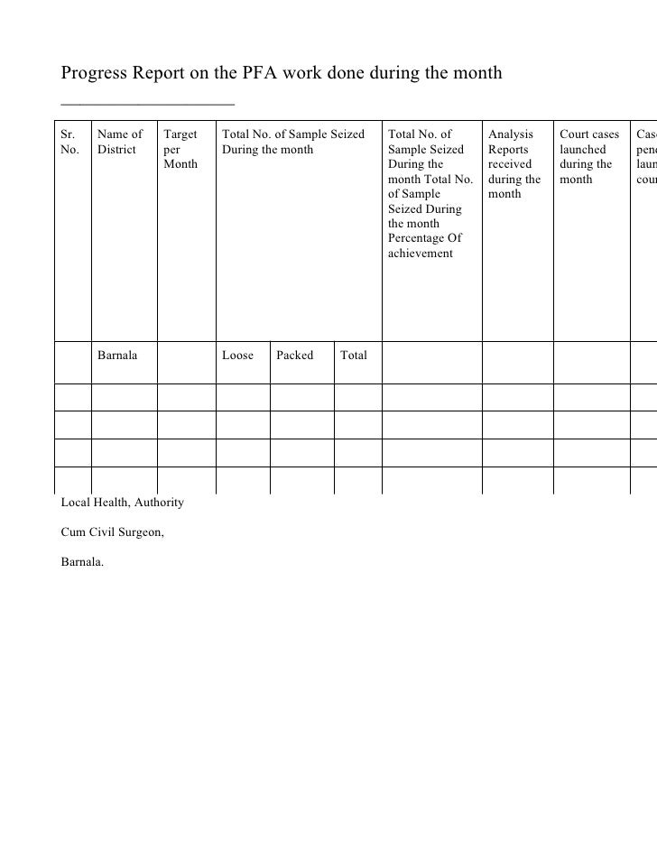 Progress Report on the PFA work done during the month __________________ Sr.   Name of      Target   Total No. of Sample S...