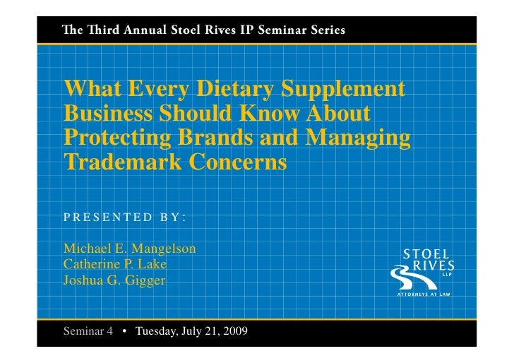 What Every Dietary Supplement Business Should Know About Protecting Brands and Managing Trademark Concerns