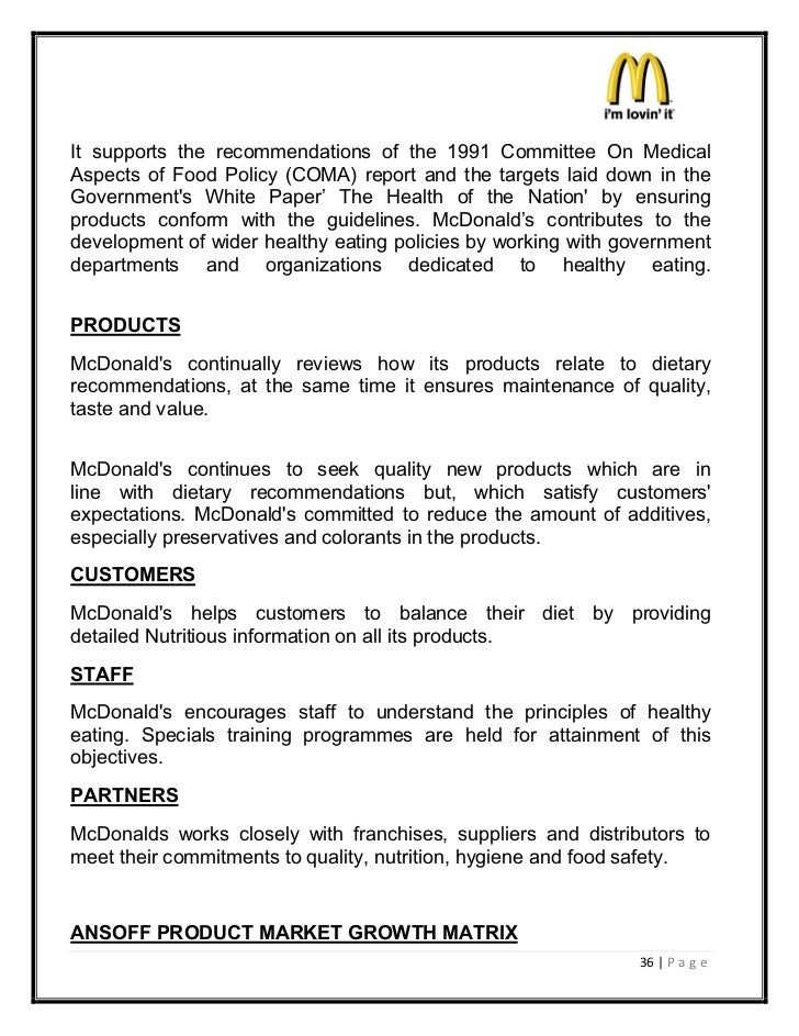 mcdonalds marketing report Corporate social responsibility: a case study of bachelor thesis in marketing and being the leader within the fast food industry mcdonalds has.