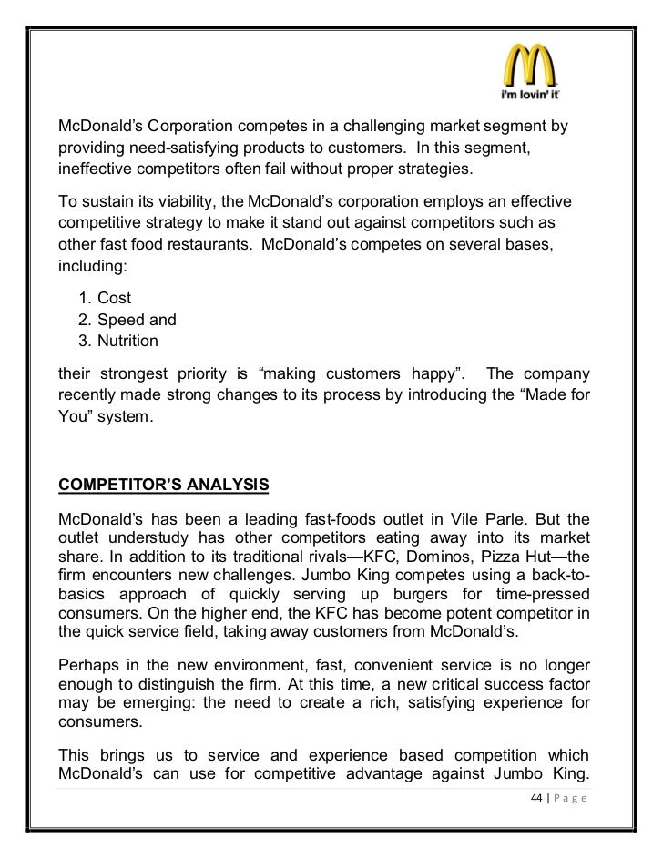 mcdonalds marketing report You are leaving the mcdonald's corporation web site for a site that is controlled by a third party, not affiliated with mcdonald's the content and policies,.