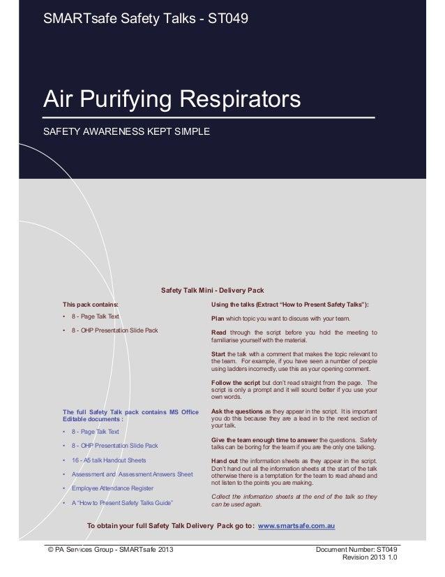 Air Purifying Respirators - Safety Talk