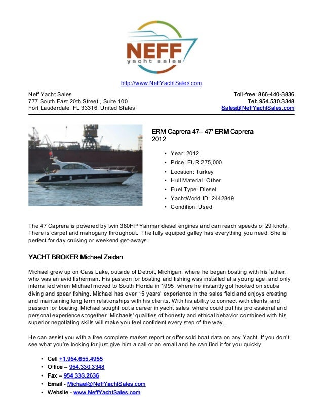 47' 2012 erm caprera 47 yacht for sale   neff yacht sales
