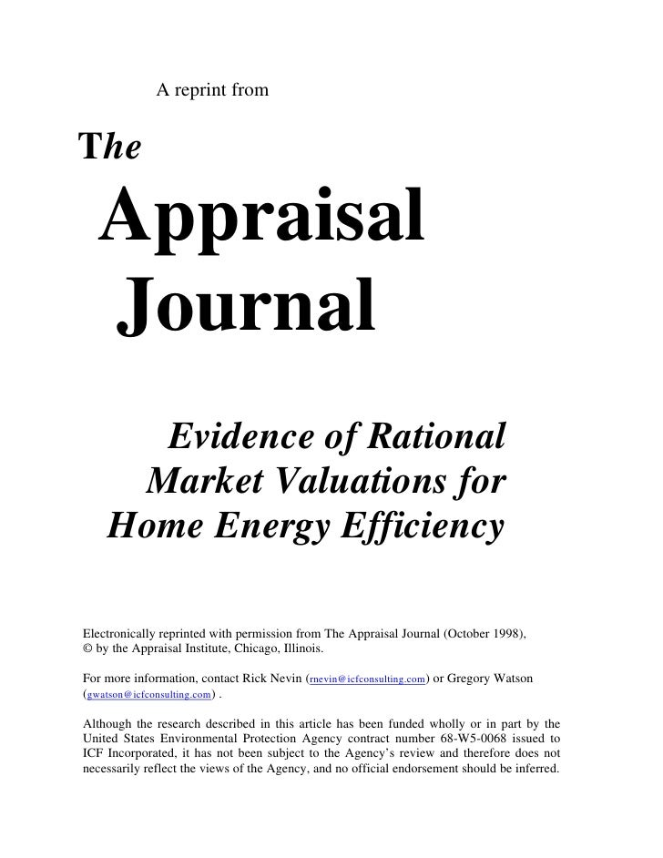 A reprint fromThe  Appraisal  Journal      Evidence of Rational     Market Valuations for    Home Energy EfficiencyElectro...