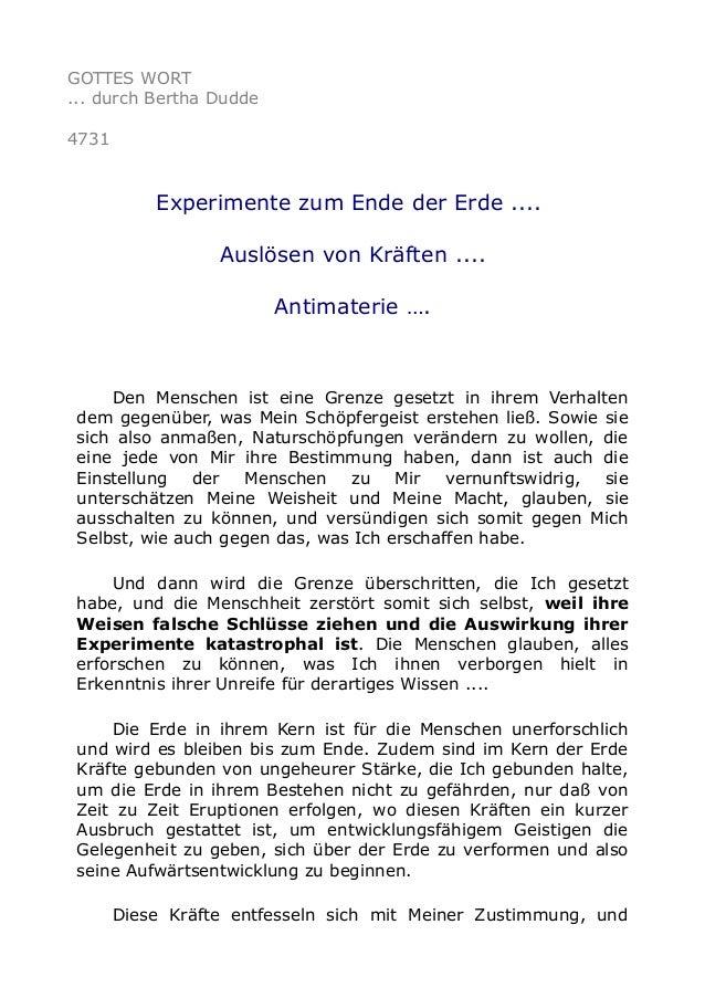 GOTTES WORT ... durch Bertha Dudde 4731 Experimente zum Ende der Erde .... Auslösen von Kräften .... Antimaterie …. Den Me...