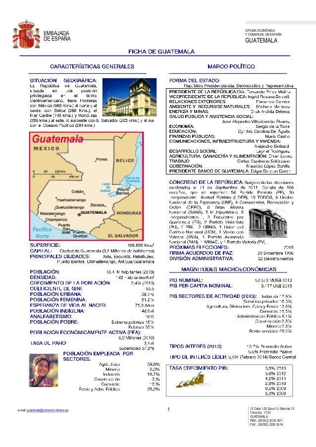 OFICINA ECONÓMICA Y COMERCIAL DE ESPAÑA GUATEMALA e-mail: guatemala@comercio.mineco.es 1 12 Calle 1-25 Zona 10, Géminis 10...