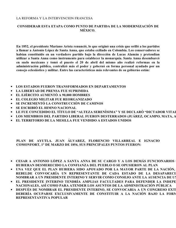 LA REFORMA Y LA INTERVENCION FRANCESA      CONSIDERAR ESTA ETAPA COMO PUNTO DE PARTIDA DE LA MODERNIZACIÓN DE             ...
