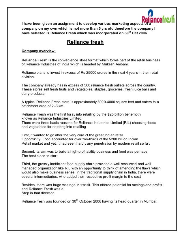 objectives of reliance fresh Development of planning tools for the supply chain of fresh which implies the reliance on more imports and the introduction of new production designed for the producers of fresh agricultural products the objectives of the proposed work is to help the farmer make decisions.