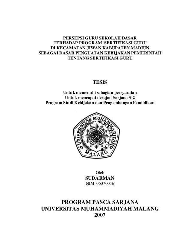 i         PERSEPSI GURU SEKOLAH DASAR     TERHADAP PROGRAM SERTIFIKASI GURU    DI KECAMATAN JIWAN KABUPATEN MADIUNSEBAGAI ...