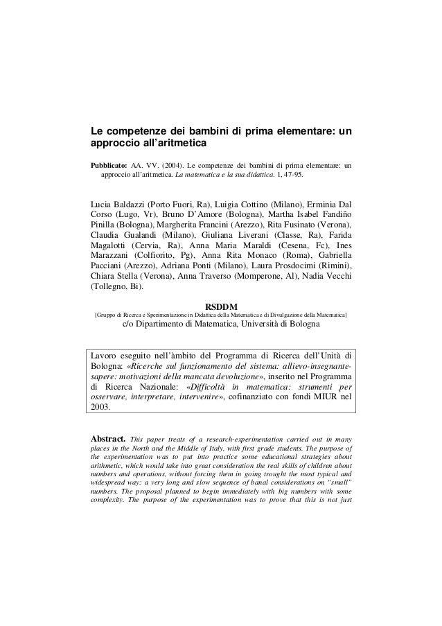 Le competenze dei bambini di prima elementare: un approccio all'aritmetica Pubblicato: AA. VV. (2004). Le competenze dei b...