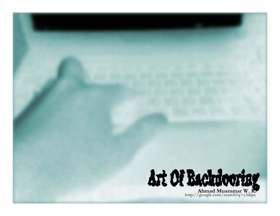 Art of Backdooring: Technique and Practice