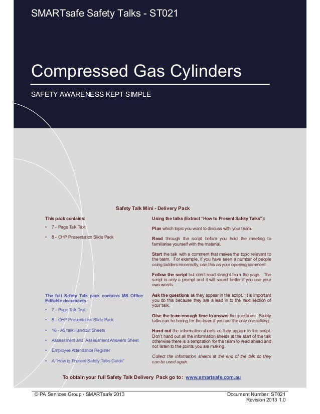 Compressed Gas Cylinders Page 1 of 10 © PA Services Group - SMARTsafe 2013 Document Number: ST021 Revision 2013 1.0 This p...