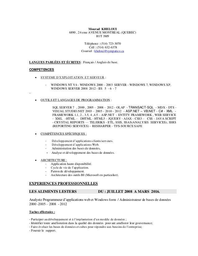 Mourad KHELOUI 6890 , 24 eme AVENUE MONTREAL (QUEBEC) H1T 3M9 Téléphone : (514) 723-3070 Cell : (514) 632-6378 Courriel : ...