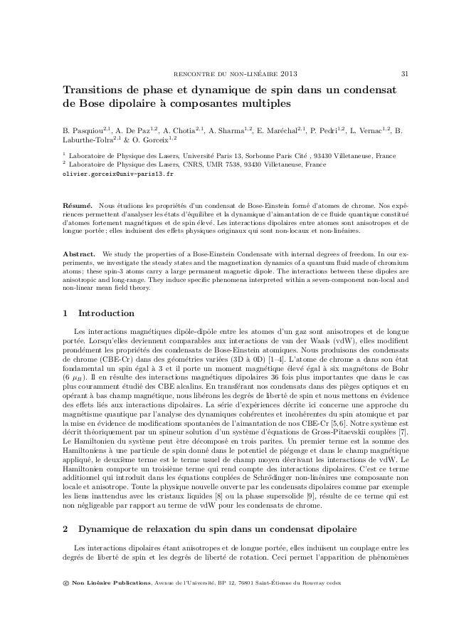rencontre du non-lin´eaire 2013 31 Transitions de phase et dynamique de spin dans un condensat de Bose dipolaire `a compos...