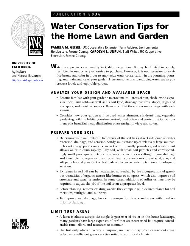 PUBLICATION 8036                                Water Conservation Tips for                                the Home Lawn a...