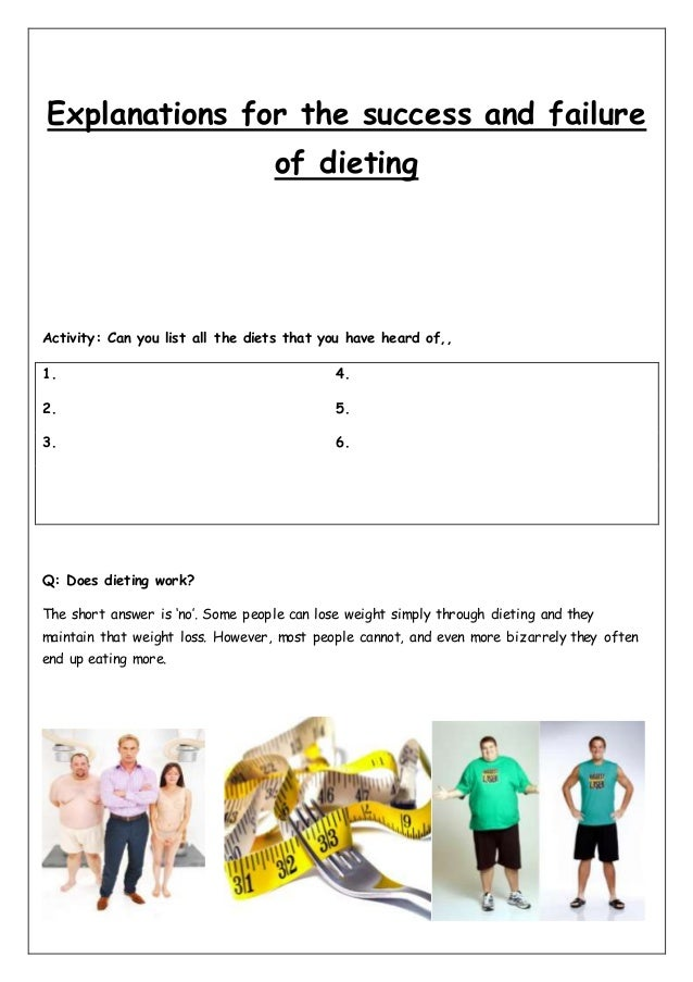 essay on success and failure of dieting Experiencing failure save your essays here so you can locate them quickly one that has stood out among every other failure and success i have gone through.