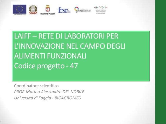 LAIFF – RETE DI LABORATORI PER L'INNOVAZIONE NEL CAMPO DEGLI ALIMENTI FUNZIONALI Codice progetto - 47 Coordinatore scienti...