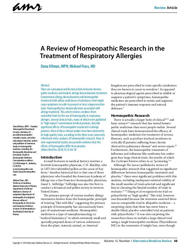 A Review of Homeopathic Research in the Treatment of Respiratory Allergies
