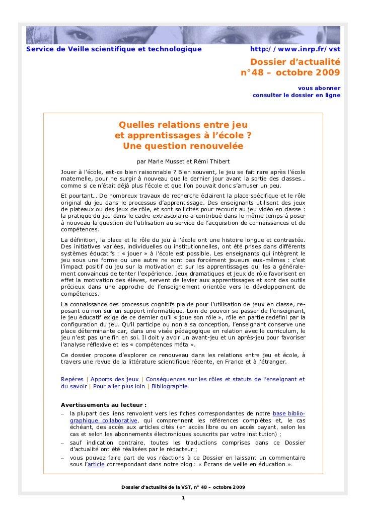 Service de Veille scientifique et technologique                                      http://www.inrp.fr/vst               ...