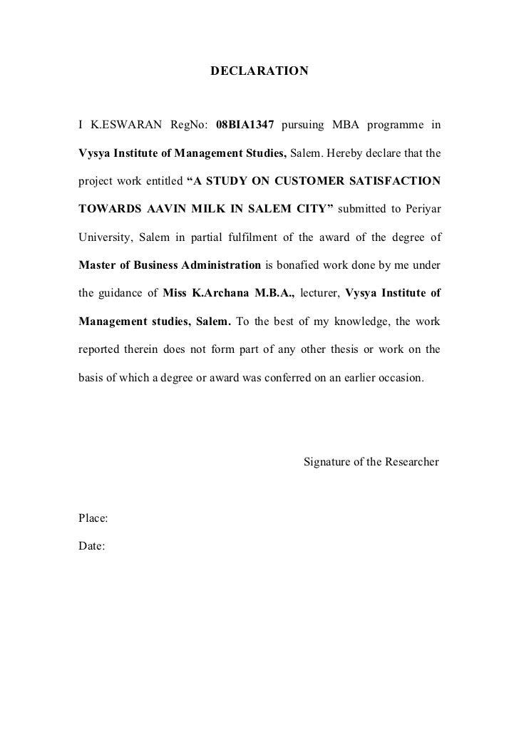 DECLARATIONI K.ESWARAN RegNo: 08BIA1347 pursuing MBA programme inVysya Institute of Management Studies, Salem. Hereby decl...