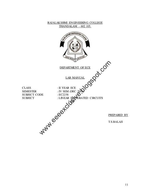 11RAJALAKSHMI ENGINEERING COLLEGETHANDALAM – 602 105.DEPARTMENT OF ECELAB MANUALCLASS : II YEAR ECESEMESTER : IV SEM (DEC ...