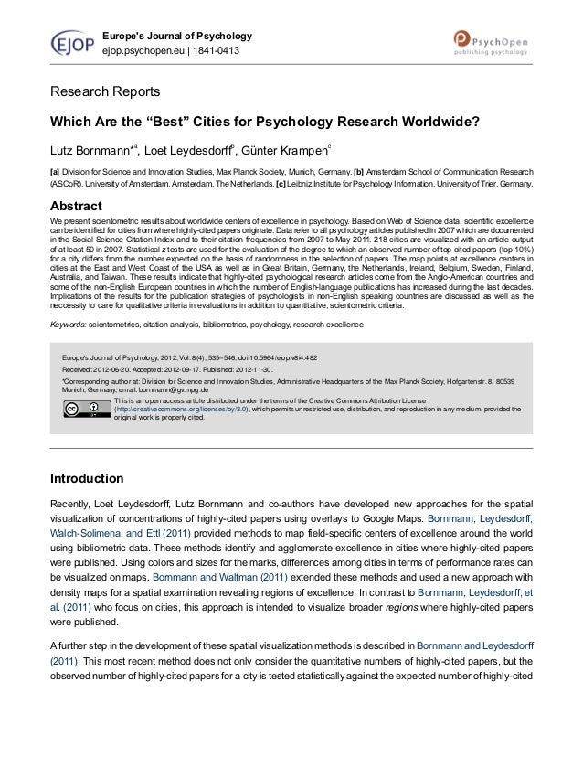 """Research ReportsWhich Are the """"Best"""" Cities for Psychology Research Worldwide?Lutz Bornmann*a, Loet Leydesdorffb, Günter K..."""