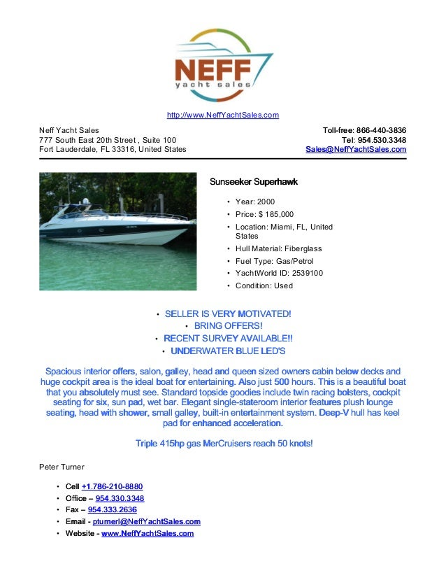 48' 2000 sunseeker superhawk for sale   neff yaccht sales