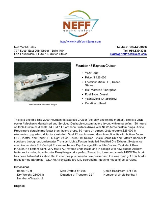 48' 2009 fountain express cruiser yacht for sale   neff yacht sales