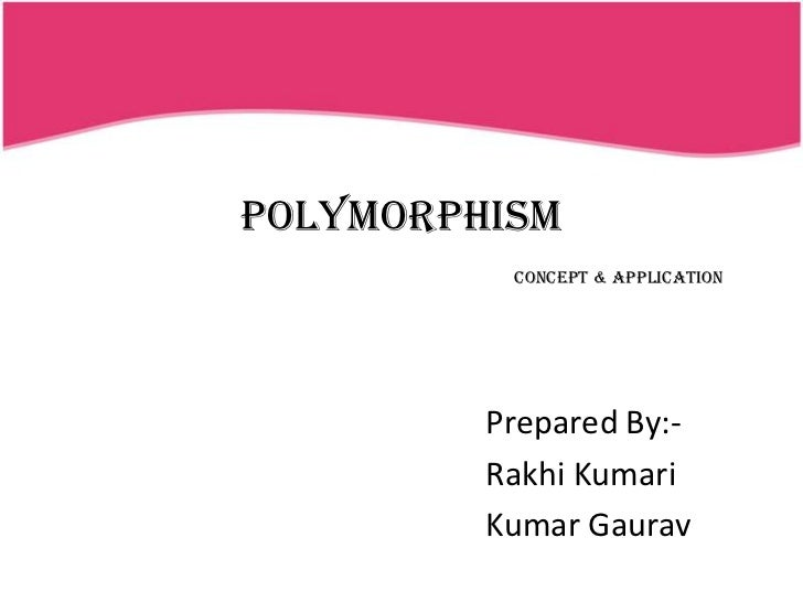 POLYMORPHISM          Concept & Application         Prepared By:-         Rakhi Kumari         Kumar Gaurav