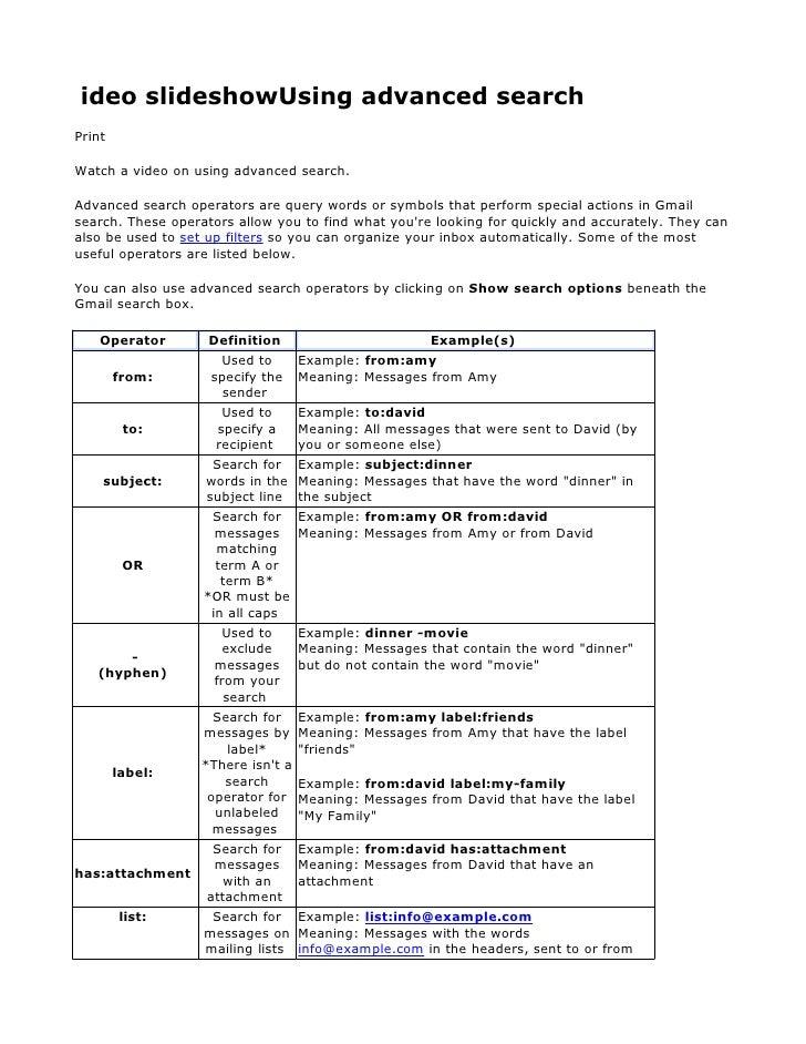 ideo slideshowUsing advanced search Print  Watch a video on using advanced search.  Advanced search operators are query wo...