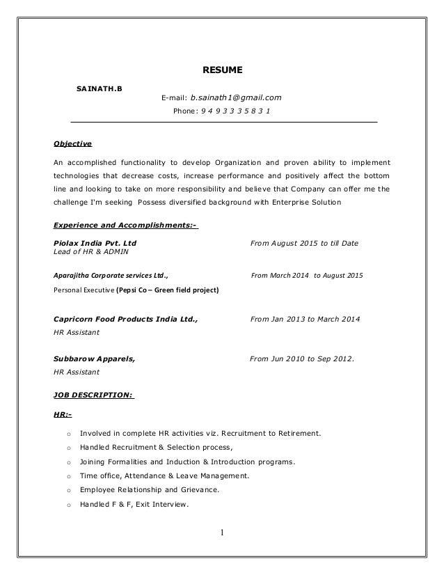 b sainath resume pi
