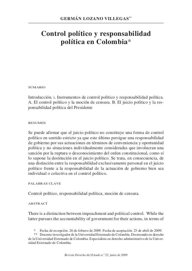 germán lozano villegas **        Control político y responsabilidad             política en Colombia*SumarioIntroducción. ...