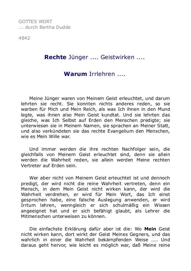 GOTTES WORT ... durch Bertha Dudde 4842 Rechte Jünger .... Geistwirken .... Warum Irrlehren .... Meine Jünger waren von Me...
