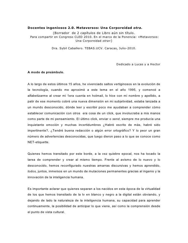 Docentes Ingeniosos y MetaversosSybilCaballero2010