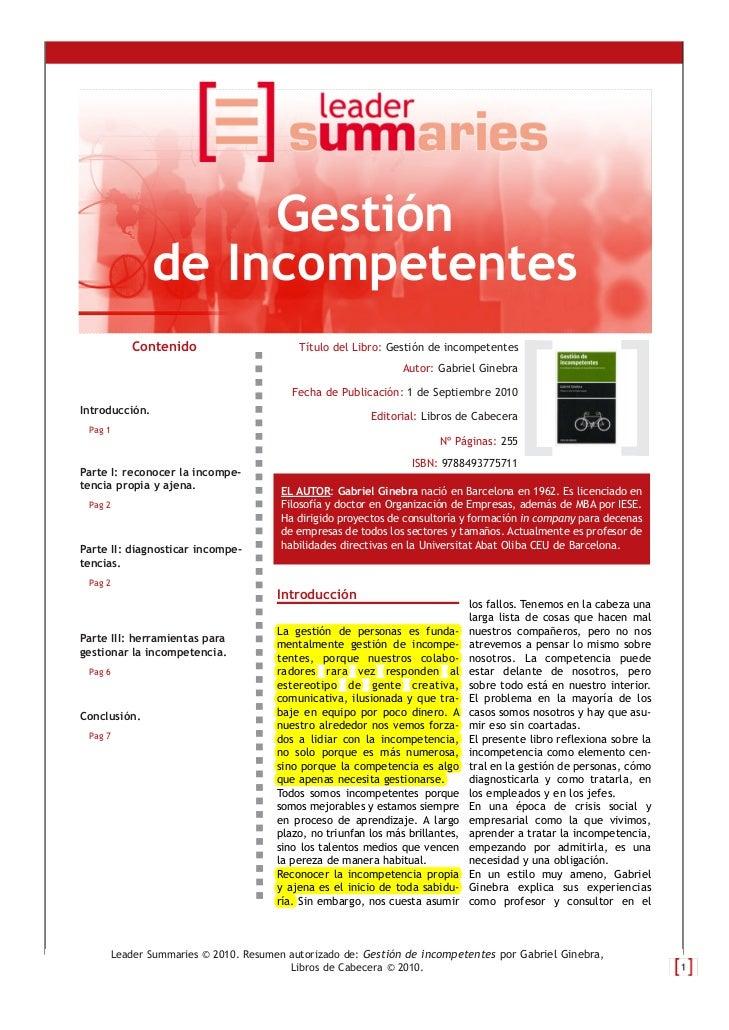 Gestión                de Incompetentes          Contenido                     Título del Libro: Gestión de incompetentes ...