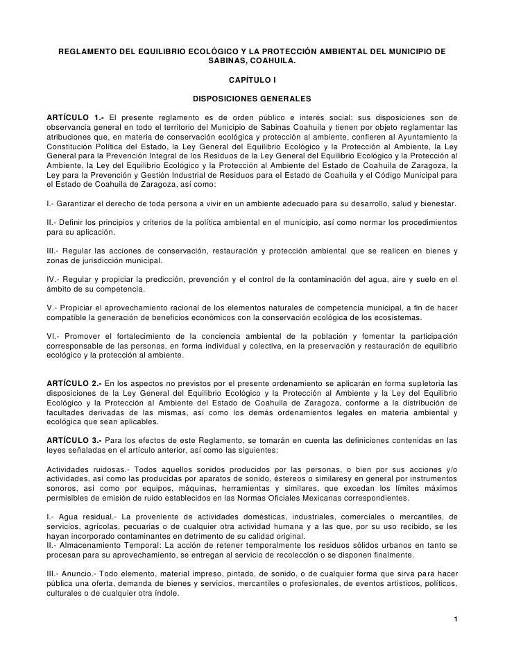 REGLAMENTO DEL EQUILIBRIO ECOLÓGICO Y LA PROTECCIÓN AMBIENTAL DEL MUNICIPIO DE                                 SABINAS, CO...