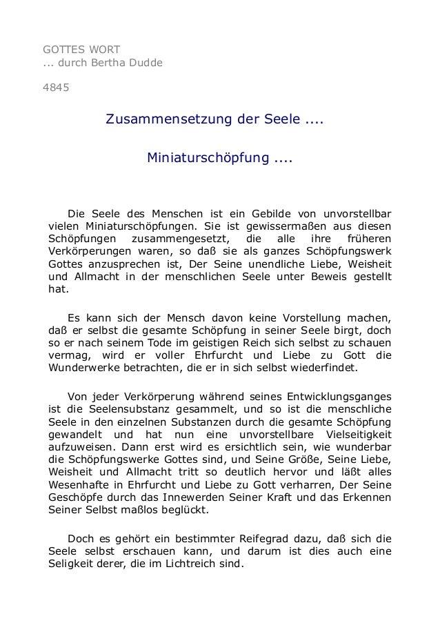 GOTTES WORT ... durch Bertha Dudde 4845 Zusammensetzung der Seele .... Miniaturschöpfung .... Die Seele des Menschen ist e...