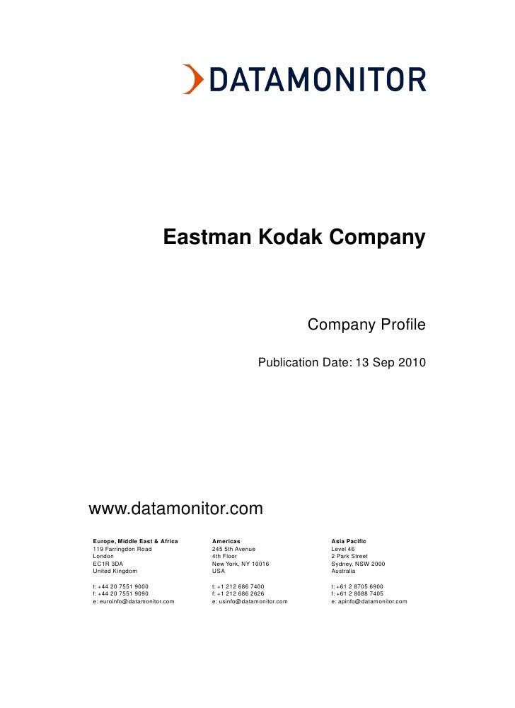Eastman Kodak Company                                                           Company Profile                           ...