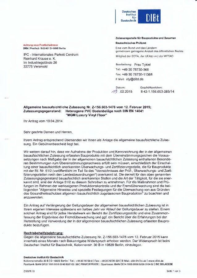 Achtung neue Postfachadresse DIBt 1Postfach150340 1D-10665 Berlin IPC - Internationales Parkett Centrum Reinhard Krause e....