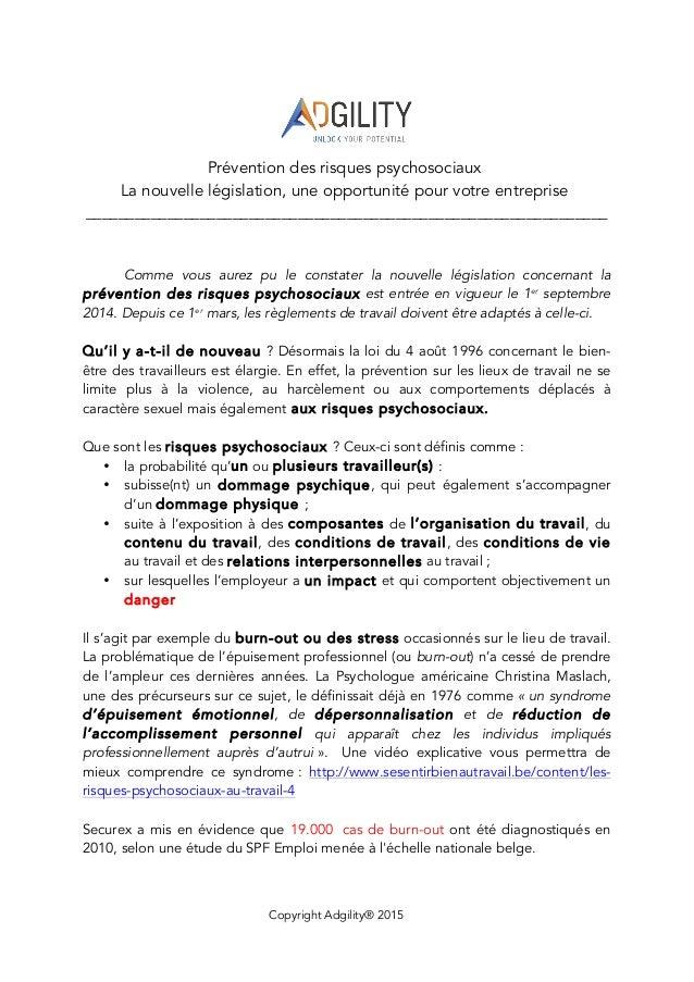 Copyright Adgility® 2015    Prévention des risques psychosociaux La nouvelle législation, une opportunité pour votre e...
